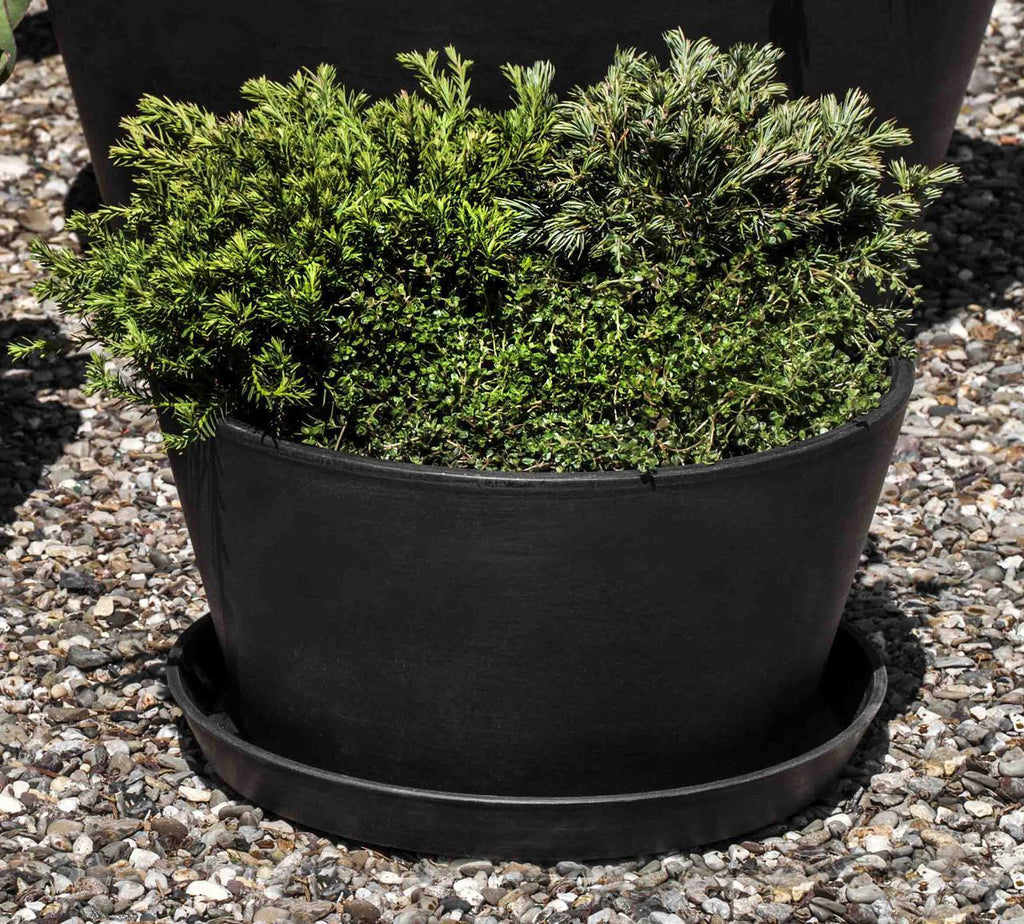 ECOPOT Tub Plntr & Saucer Lg-in Black