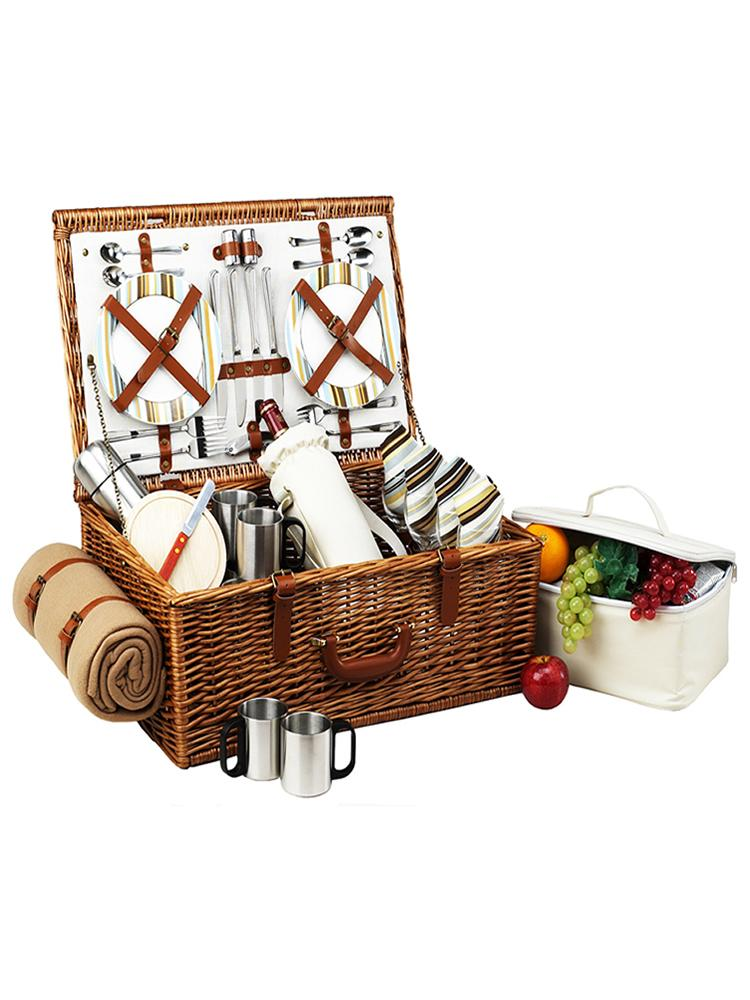 Dorset Basket for four with Coffee Set & Blanket in Santa Cruz