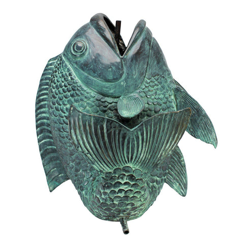 Dancing Asian Fish Bronze Spitting Garden Statue Collection: Large