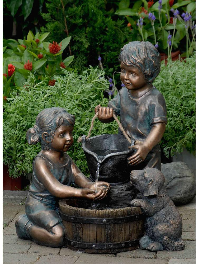 Two Kids And Dog Outdoor Water Fountain