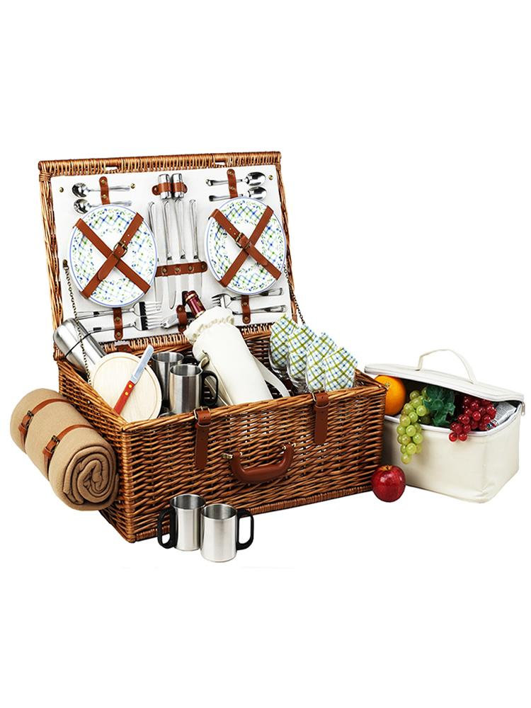Dorset Basket for four with Coffee Set & Blanket in Gazebo