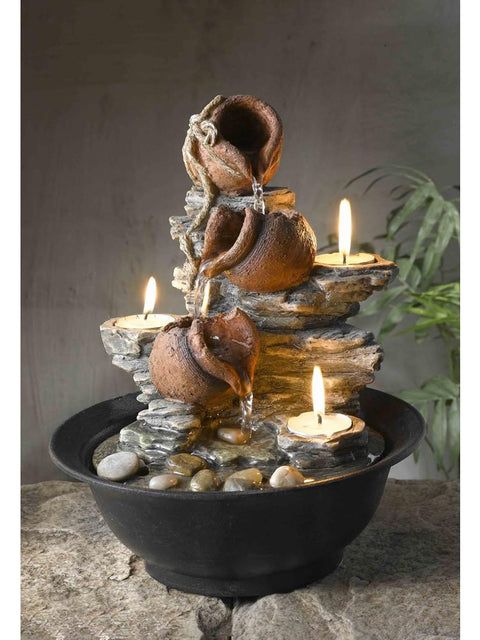 Candle and Pot Tabletop Fountain