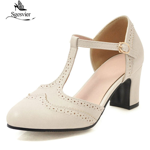 Brogue Style Shoes with T Strap