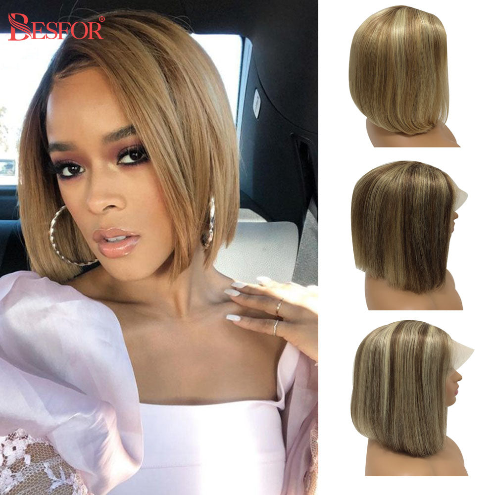 Ombre Bob Wig Lace Front Human Hair Wigs Cheap Short Straight Highlight Blonde Middle Part Brazilian Remy Hair For Black Women
