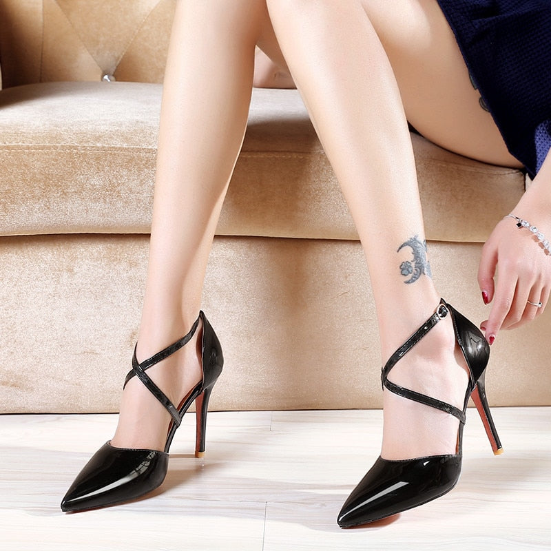 Large Size Patent Leather Strappy Heels.