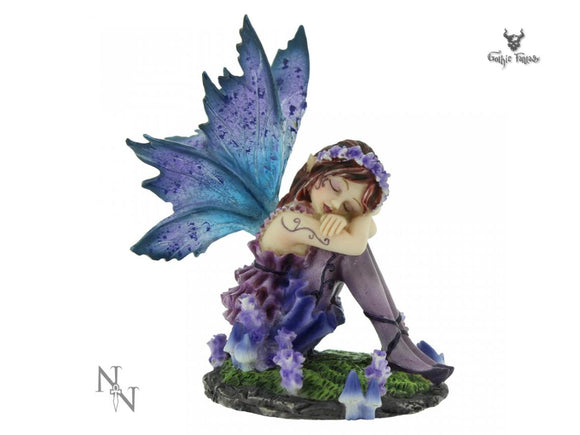 Akina Small Fairy Figurine Purple and Blue Floral Fairy Ornament 10cm - Gothic Fantasy Store