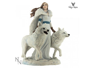 Winter Guardians Lady With her Two White Wolves Figurine by Anne Stokes - Gothic Fantasy Store