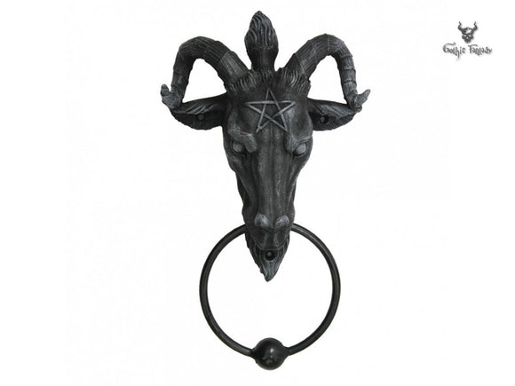 Baphomet Door Knocker 21.5cm Sabbatic Goat with Pentagram on its forehead - Gothic Fantasy Store