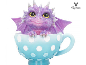 Cutieling Dragon Sat in a Polka Dot Tea Cup 11.2cm - Gothic Fantasy Store