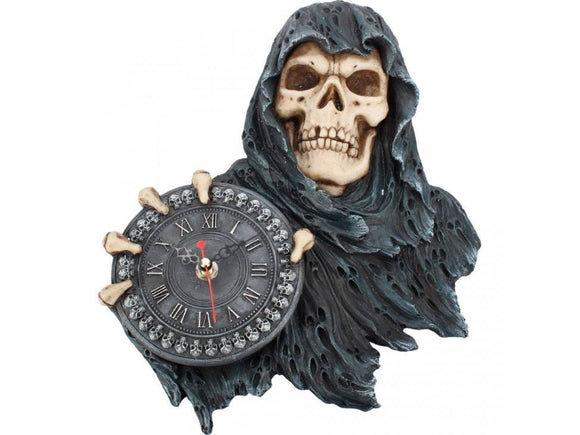 Grim reaper holding a clock in his right hand