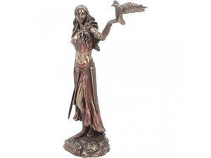 Morrigan and Crow Bronze Celtic Goddess of War 28cm - Gothic Fantasy Store
