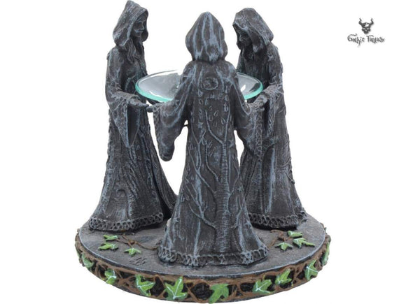 Magik Circle (16cm) Triple Moon Oil Burner Mother Maiden and Crone - Gothic Fantasy Store