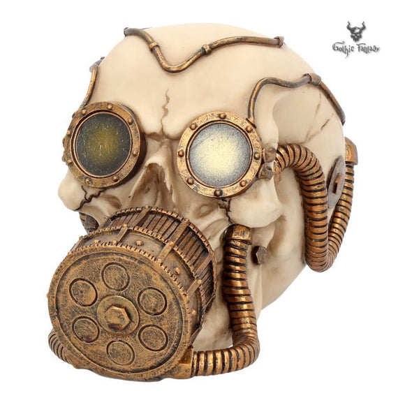 Skull wearing brass goggles