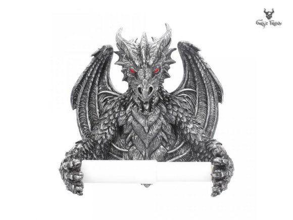 Obsidian Dragon Toilet Roll Holder Black Dragon Gothic Toilet Decor 22cm - Gothic Fantasy Store