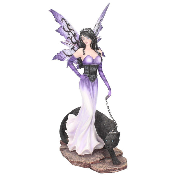 Panthea Enchanting Fairy Figurine Walking a Panther 29cm - Gothic Fantasy Store