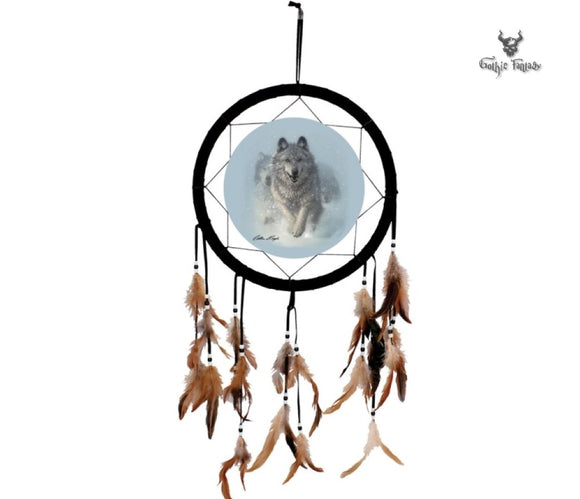 Wolves running in the snow dreamcatcher