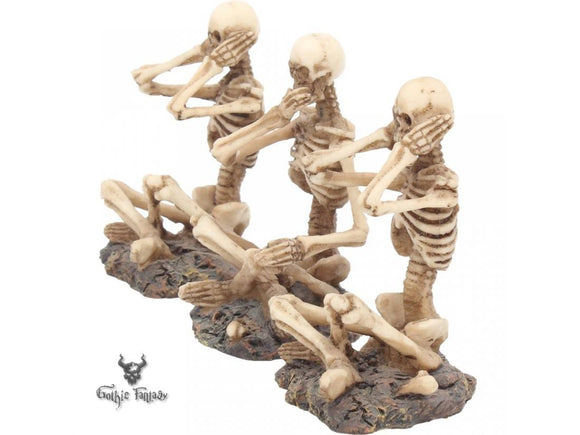 See No, Hear No, Speak No Evil Skeletons Figurines 8.5cm - Gothic Fantasy Store