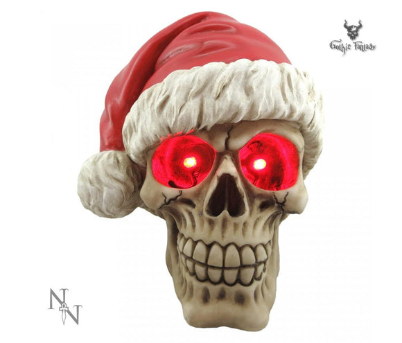 Gothic Skull wearing a Santa Hat with light up eyes