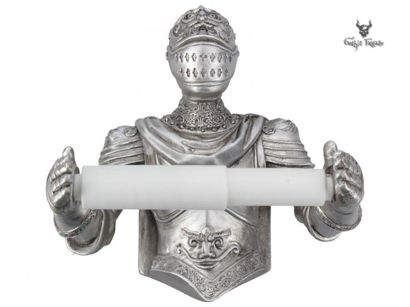 Brave Knight Toilet Roll Holder 20cm Silver Knight Holding Toilet Roll - Gothic Fantasy Store