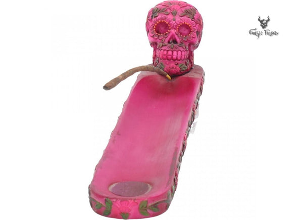 Sugar Blossom Incense Burner 26.5cm Day Of The Dead Pink Incense Burner - Gothic Fantasy Store