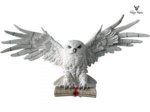 The Emissary Magical Flying Owl Figurine 49cm Owl Plaque Holding a Scroll - Gothic Fantasy Store