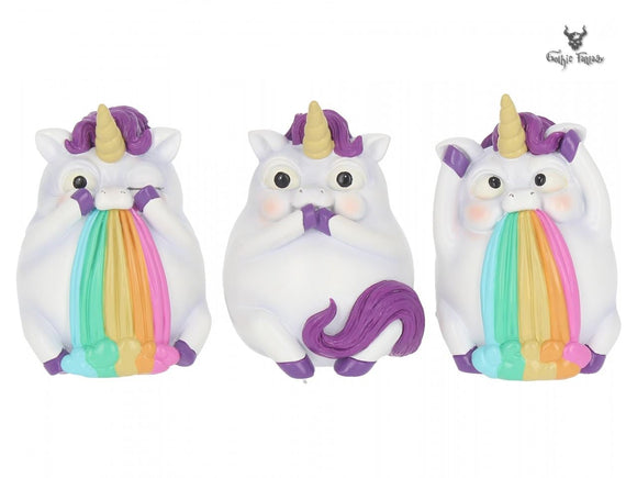 Three Wise Pukicorns 8.5cm Three Cute Unicorns Puking Rainbows - Gothic Fantasy Store