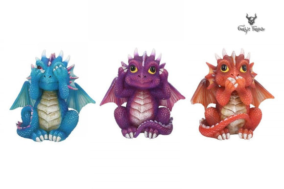 Three Wise Dragonlings Three Baby Dragons See No, Hear No, Speak No Evil 8.5cm - Gothic Fantasy Store
