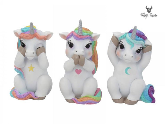 Three Wise Cutiecorns 9.5cm Unicorns See No Hear No Speak No Evil - Gothic Fantasy Store