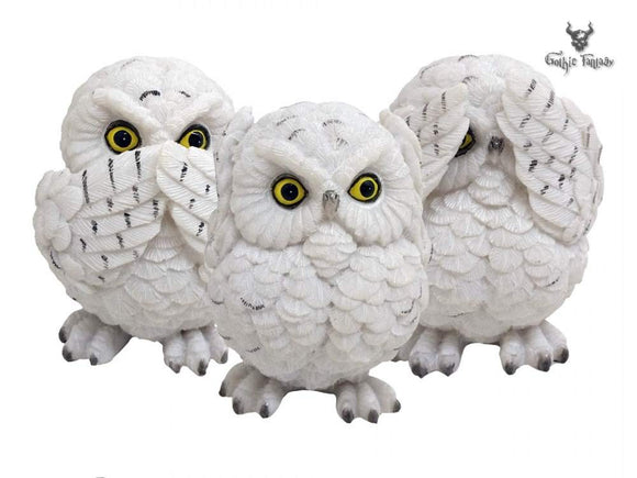 Three Wise Owls Ornaments See No Hear No Speak No Evil Owl Figurines - Gothic Fantasy Store