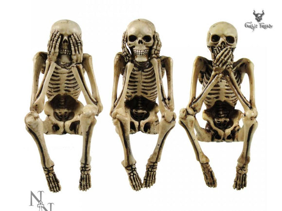 Three Wise Skeleton 10cm The Ancient Confucian wisdom See No Evil - Gothic Fantasy Store