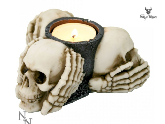 Three Wise Skulls Tealight Holder 11cm See No Hear No Speak No Evil - Gothic Fantasy Store