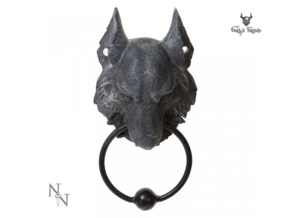 Charcoal coloured Wolf shaped door knocker