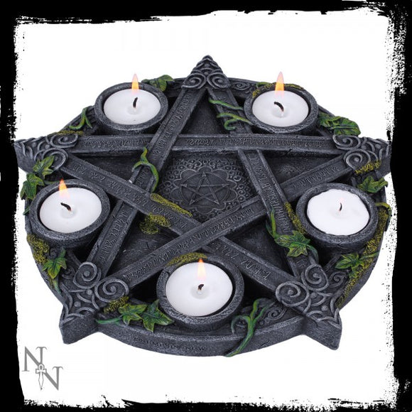 Wiccan Pentagram?Tea light Holder 25.5cm