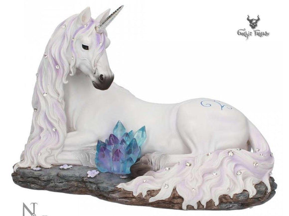 Jewelled Tranquillity White Unicorn Lying Down on a Rock 19cm - Gothic Fantasy Store