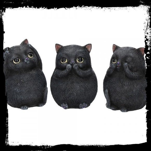Three Wise Fat Cats 8.5cm - Gothic Fantasy Store