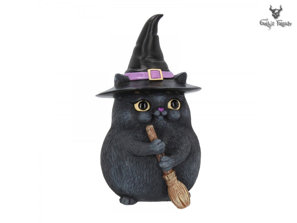 Lucky Black Cat Witch Figurine by Nemesis Now from the Snapcats Collection 12cm - Gothic Fantasy Store