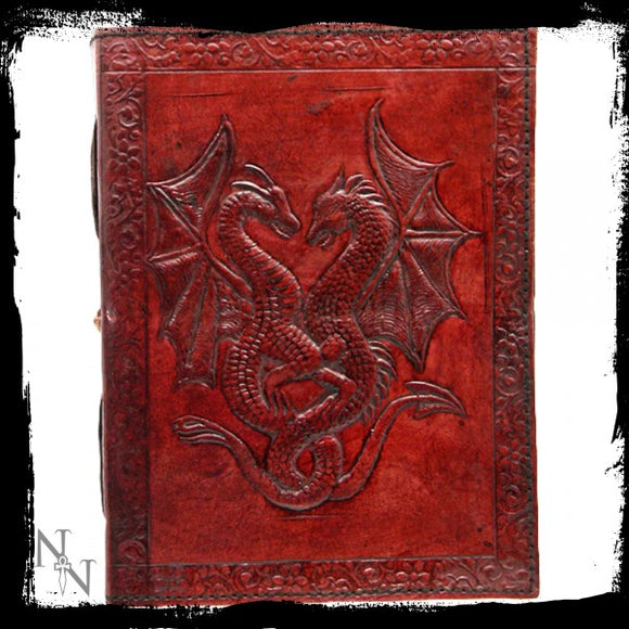 Double Dragon Leather Embossed Journal 12.5 x 18cm - Gothic Fantasy Store