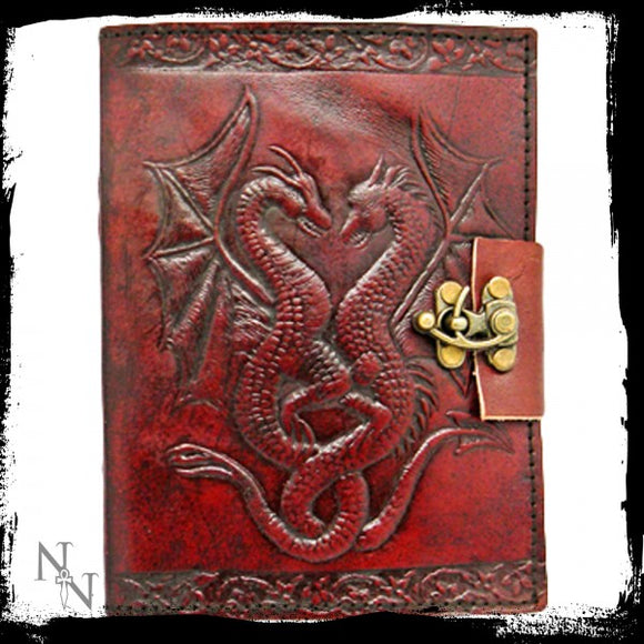 Double Dragon Leather Embossed Journal & Lock - Gothic Fantasy Store