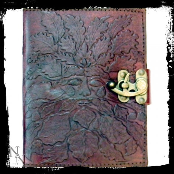 Greenman Leather Embossed Journal & Lock 15 x 20cm - Gothic Fantasy Store