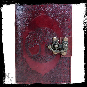 Tree Of Life Leather Journal w/lock 13 x 18cm - Gothic Fantasy Store