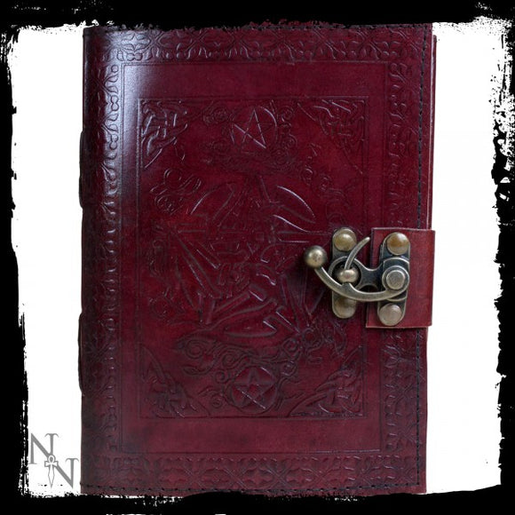 Pentagram Leather Journal w/lock 15 x 21cm - Gothic Fantasy Store