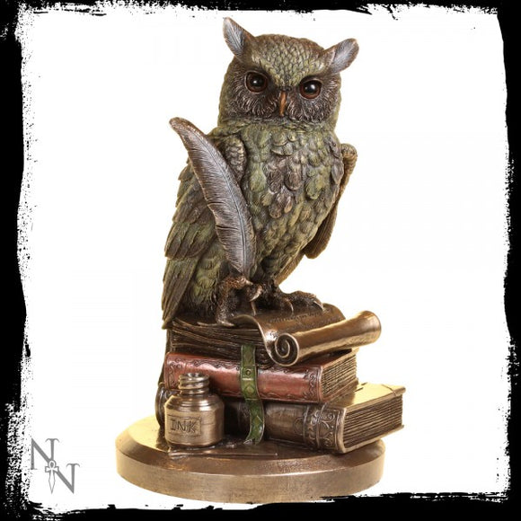 Ulula Bronze Owl Figurine Writing a Message in a Scroll, 23 cm tall - Gothic Fantasy Store