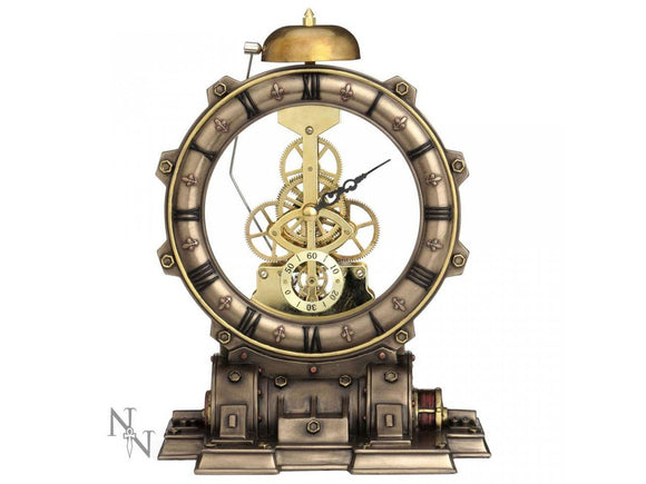 Time Machine Steampunk Clock Skeleton Design Bronze Nemesis Now 21.5cm - Gothic Fantasy Store
