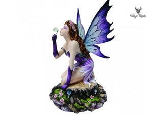 Carefree Fairy Blowing Bubbled Kneeling On A Tree Stump 24.8cm - Gothic Fantasy Store