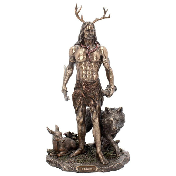 Herne God of forest stood with dear and wolf