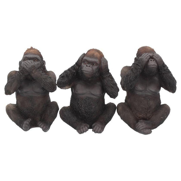 Three Wise Gorillas 13cm See no Speak no Statues Nemesis Now - Gothic Fantasy Store