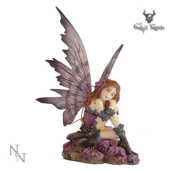 Heather Fairy sat on Rocks with a Starling by her side 15cm - Gothic Fantasy Store