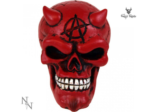 Red Devil Gear Knob 8cm Skull Gear Stick With Anarchy Symbol - Gothic Fantasy Store