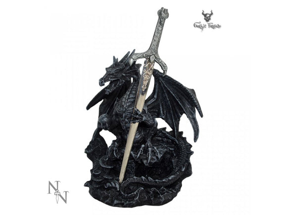 Dragon holding a sword shaped letter opener