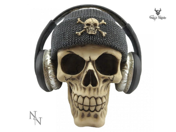 Dead Beat (Grey) 17cm Dead Beat Skull With Grey Hat and Head Phones - Gothic Fantasy Store